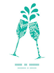 Vector emerald green plants toasting wine glasses silhouettes