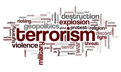 Word cloud with terms related to terrorism