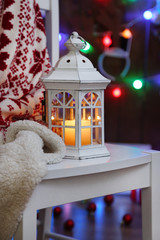 Lantern, presents and Christmas decorations