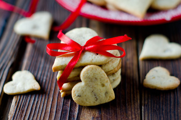 Shortbread cookies in a heart-shaped Valentine's Day