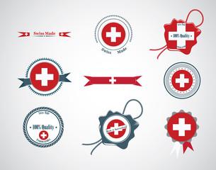 Made in Switzerland - set of seals, badges.