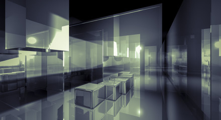 Creativity, illustration of 3d image of empty wall for display