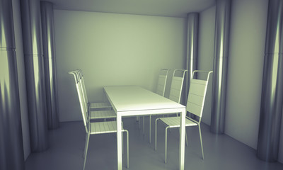 Domestic.Clean diner room, chairs and white table  over clean sp