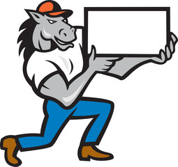Horse Kneeling Presenting Cartoon