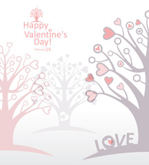 Forest. love trees. Beautiful card for Valentine's Day.