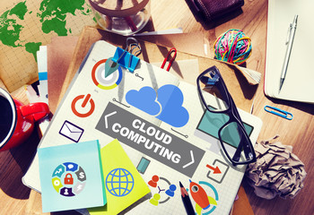 Notepad Connection Global Communications Cloud Computing Concept