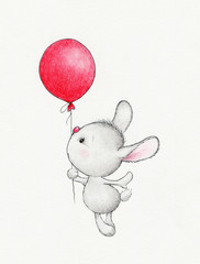 Cute bunny flying on balloon