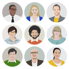 Vector of Diverse Cheerful People Faces Individual Concept