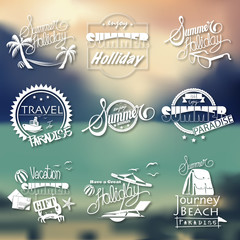 Group Summer Words Blurred Background Concept