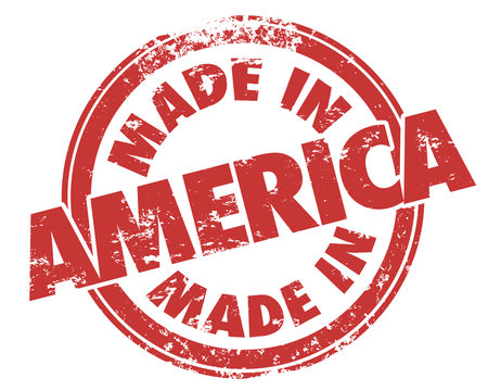 Made in America Round Red Grunge Stamp USA Manufactured Product