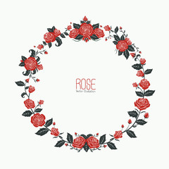 Garland of red roses