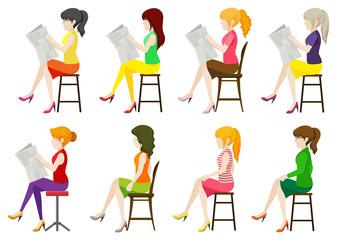 Faceless ladies sitting down
