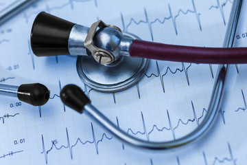 Cardiogram pulse trace and stethoscope