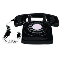 Retro black telephone on white background.