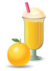 Orange fruit shake vector