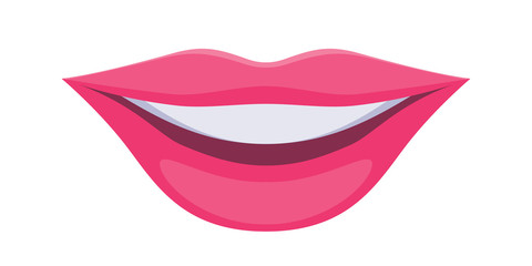 Pink lady's lips icon. Smile symbol.
