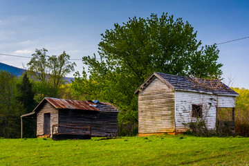 Old farm buildings in the Shenandoah Valley, Virginia.