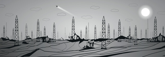 Wall Mural - Petroleum panorama, industrial, power, lines design