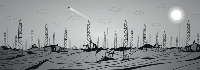 Fotobehang - Petroleum panorama, industrial, power, lines design