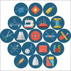 Flat icons collection of sewing items
