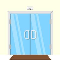 Flat illustration of transparent glass door
