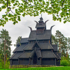 old wooden church in Folks museum Oslo