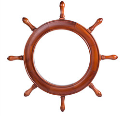 Frame in the form of the ship's steering wheel. isolated