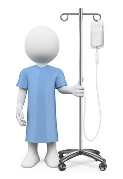 3D white people. Patient in hospital with serum