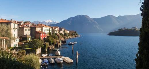 Sala Comacina, lake of Como. The small gulf with the harbor and
