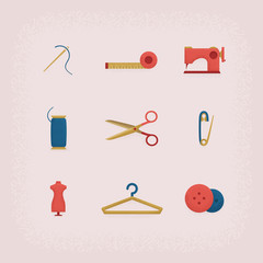 Collection of vintage retro tailor equipment