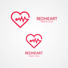 Combination of heart and pulse logo
