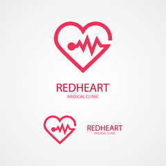Design logo combination of a heart and pulse.