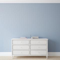 Interior with dresser.