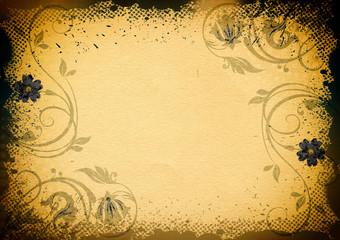 Grunge floral paper background.