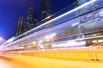traffic trails in modern city,hongkong