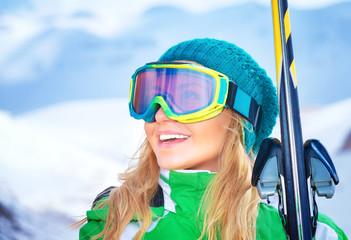 Portrait of skier girl