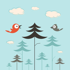 Trees, Birds and Clouds Retro Flat Design Illustration