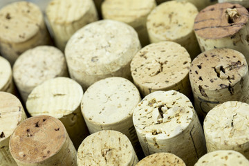 Wine Bottle Corks macro closeup with Staggered Heights