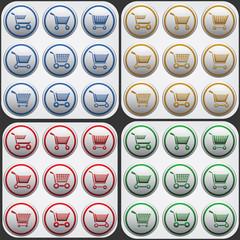 shoping cart flat icon set in grey circles