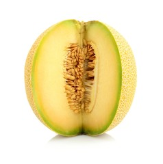 Melon galia notched with seeds isolated white in studio