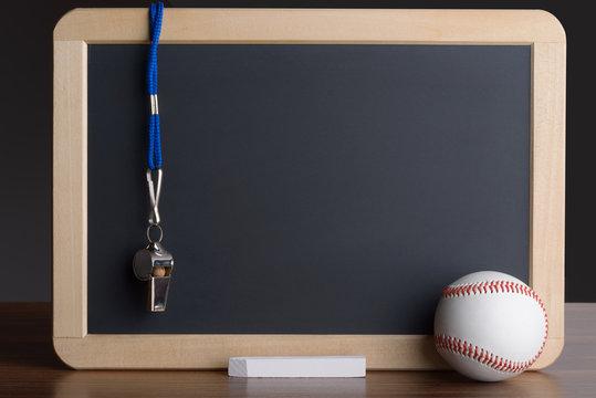 Slate With Baseball; Chalk And Whistle