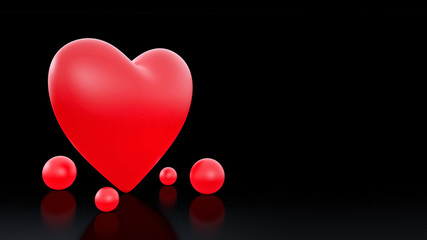 illuminated red heart