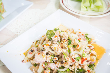 spicy minced pork salad, Thai food