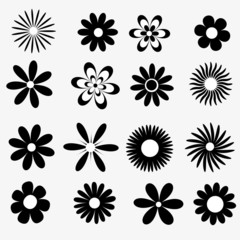 flowers a set of black and white