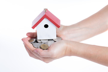 Buying property concept with giving money