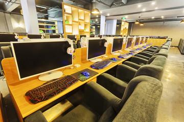 Modern internet cafe interior
