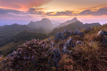 Sunset beautiful landscape of north of thailand