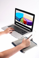 hand design charts on graphic tablet