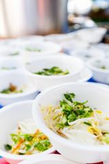 Rice noodle in foam bowl