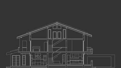 Architectural Vector Of Standard House Section On Blackboard